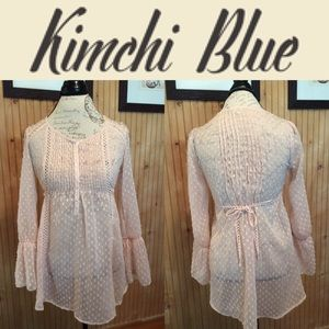 UO Kimchi Blue Pink pleated sheer blouse size XS